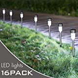 Jebei 16Pack Solar Lights Outdoor, Outdoor Garden Lights, Solar Pathway Lights, Outdoor Landscape Lighting for Lawn/Patio/Yard/Walkway/Driveway (Stainless Steel)