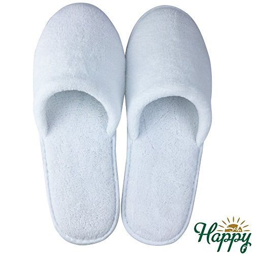 HAPPY SOLE - Premium Closed Toe Slipper House Slippers for Home, Spas & Hotels – Super Soft, Comfortable & Non-Slip - Lightweight & Portable Disposable Travel Slippers for Men & Women (White)