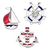 Onnea Sailboat Anchor Wheel Cartoon Enamel Brooch Pin Set for Bags Girls