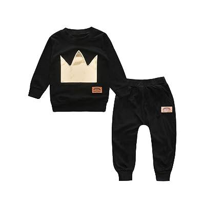 2PCS Enfants Coton Couronne-Motif Vêtements Ensemble Long Pantalon À Manches Longues T-Shirt