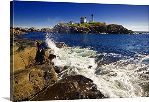 Franco Cogoli Premium Thick-Wrap Canvas Wall Art Print entitled Maine, Cape Neddick, Atlantic ocean, New England, York Beach, the (Cape Neddick Lighthouse)