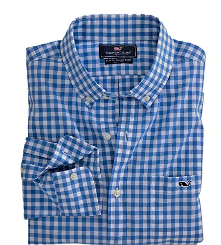 Charming Winery Vines Males's Slim Match Whale Shirt Button Down Gown Shirt (Sea Park Gingham/Null Blue, Medium)  Evaluations