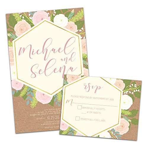 (Floral Explosion Personalized Wedding Invitations and RSVP Cards)