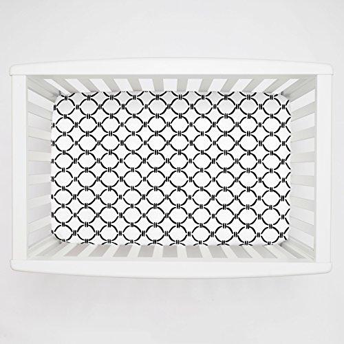 Carousel Designs Onyx Lattice Circles Mini Crib Sheet 1-Inch-4-Inch Depth - Organic 100% Cotton Fitted Mini Crib Sheet - Made in the USA (Onyx Lattice)