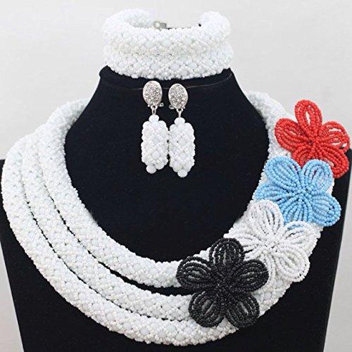 Blanc avec cristal Couleurs mélangées fait à la main Broche africain du Nigeria Ensemble de bijoux