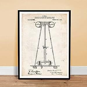 "TESLA POSTER Electrical Energy Transmitting Tower PATENT ART POSTER PRINT 1914 VINTAGE GIFT UNFRAMED (18"" x 24"")"