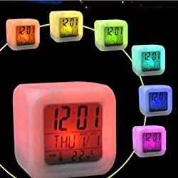 LtrottedJ Digital Alarm, Thermometer Night Glowing Cube 7 Colors Clock LED Change