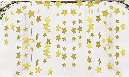 Fecedy 2pcs Gold Sparkling Star Garland Bunting for Baby shower,Birthday party Wedding Party 13 feet (Garland Sparkling)