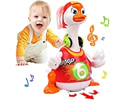 Baby Toys 12-18 Months Early Education Funny Dancing Hip-Hop Swing Goose ,Music/Walking/Flashing Lights Gifts Toys for 1 2 3