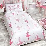 Born to Dance Ballerina 2 Piece UK Junior/US Toddler Sheet Set, 1 x double sided sheet & 1 x pillowcase, Pink and White, Multi