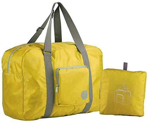 wandf-foldable-travel-duffel-bag-luggage-sports-gym-water-resistant-nylon-gold-yellow