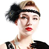 BABEYOND Roaring 20s Headpiece 1920s Flapper Peacock Feather Headband
