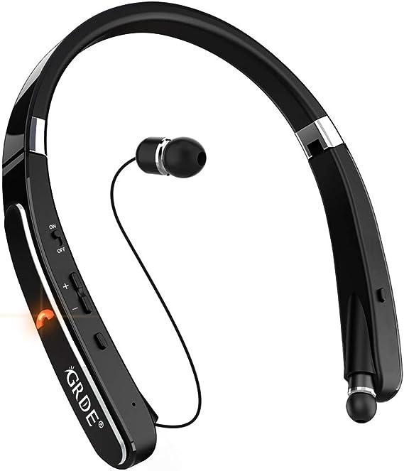 Auriculares Bluetooth, GRDE 30Hr Playtime V4.1, con banda para el cuello, auriculares Bluetooth con cancelación de ruido, auriculares plegables retráctiles, cascos inalámbricos para teléfonos Samsung Galaxy S9 Note 8: Amazon.es: Coche y