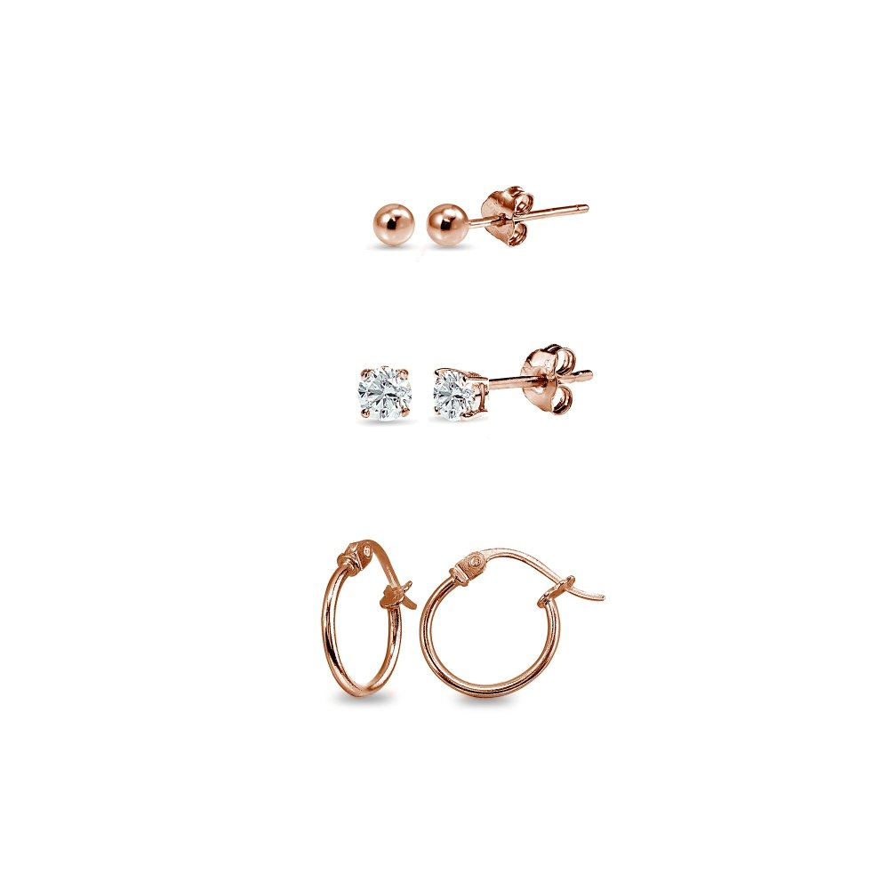 3 Pairs Rose Gold Flash Sterling Silver Unisex 12mm Tiny Small Hoops, 3mm Round Ball Stud & CZ Stud Earrings Set