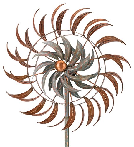 Regal Art & Gift Rotating Kinetic 24 inches x 13.5 inches x 75 inches Metal Stake - Copper Petals Garden Stakes by Regal