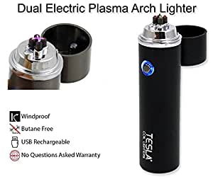 Tesla Coil Lighters™ 360° Dual Arc USB Rechargeable Windproof Electrical Plasma Arc Lighter - Choose Your Color (Black)