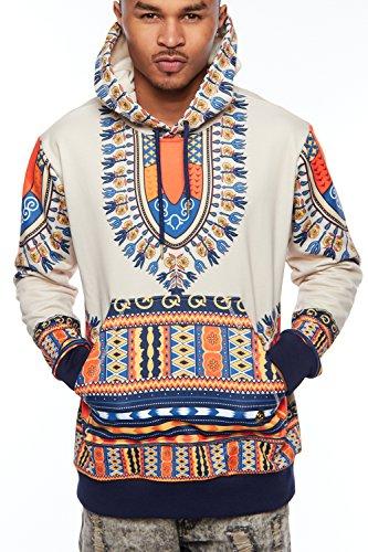 Swag Dashiki Print Fashion Traditional Hoodie Jacket 03041415 (M, Beige) (Traditional Swag)