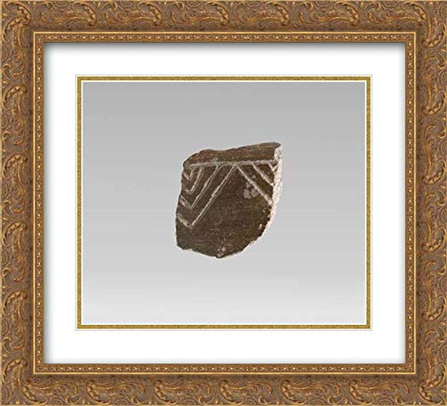Cretan Culture - 22x20 Gold Ornate Frame and Double Matted Museum Art Print - Terracotta Vessel Fragment with incised Decoration