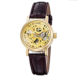 Gute Golden Steampunk Hand-Wind Mechanical Watch Ladies Skeleton Wristwatch Dark Brown PU Band