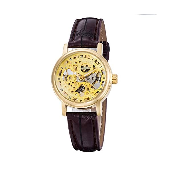 Gute Golden Steampunk Hand-Wind Mechanical Watch Ladies Skeleton Wristwatch Dark Brown PU Band 3