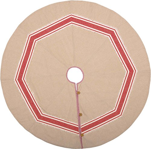 Piper Classics Farmhouse Red Stripe Tree Skirt, 48'' Diameter, Country Farmhouse Christmas and Holiday Seasonal Decor by Piper Classics (Image #1)