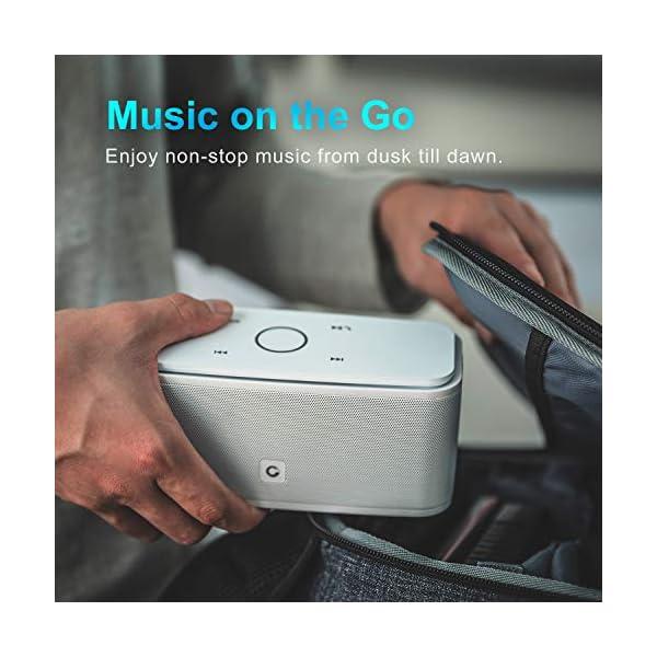 Enceinte Bluetooth 12W, DOSS SoundBox Haut-Parleur Bluetooth sans Fil Portable,Commande Tactile et Définition Stéréo, 12 Heures d'Autonomie en Lecture,Mains Libres Téléphone, Carte TF Support.- Blanc 4