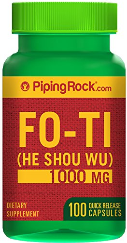 Piping Rock Fo-Ti Root He-Shou-Wu 1000 mg 100 Quick Release Capsules Dietary Supplement