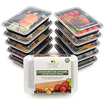 Amazoncom 10 pack 1 Compartment BPA Free Meal Prep Containers