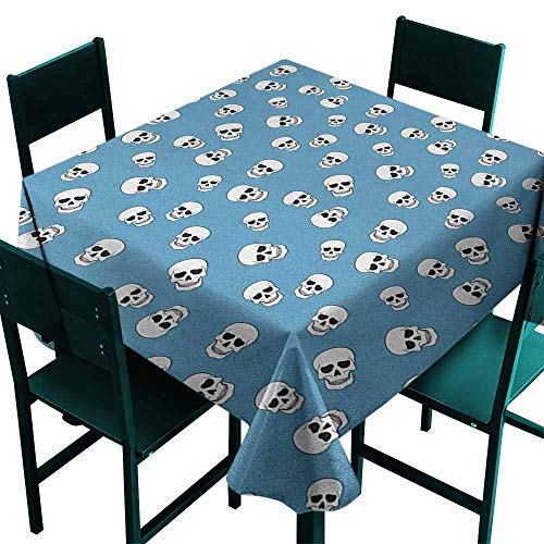 Warm Family Skull Oil-Proof and Leak-Proof Tablecloth Graphic Dead Heads Bone Skeletons Classic Pattern Creepy Artistic Prints Indoor Outdoor Camping Picnic W60 x L60 Pale Blue Black White