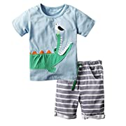 BIG ELEPHANT Boys' 2 Piece Crocodile Printed Summer Short Sleeve T-Shirt Clothing Set J27A