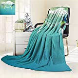 YOYI-HOME Lightweight Duplex Printed Blanket Modern Wedding Themed Frame Sparrows Birds Clouds Ombre Design Slate Blue Pale Green and White Digital Printing Blanket /W39.5 x H59