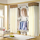 Asunflower Adjustable Clothes/Garment Racks 2-Tier Steel Pipe Coat Hangers Heavy-Duty With 2 Piece 105'' Curtains