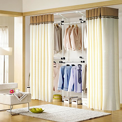 Asunflower Adjustable Clothes/Garment Racks 2-Tier Steel Pipe Coat Hangers Heavy-Duty With 2 Piece 105