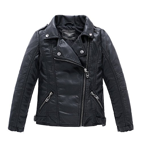 Unisex Boys Girls Faux Leather Moto Jacket Casual PU Coats (4-5Years, Black)