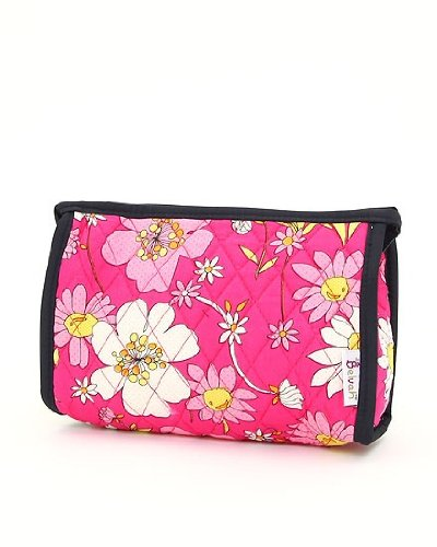 Belvah Quilted Floral Cosmetic Bag with Trim (Fuchsia/Navy), Bags Central