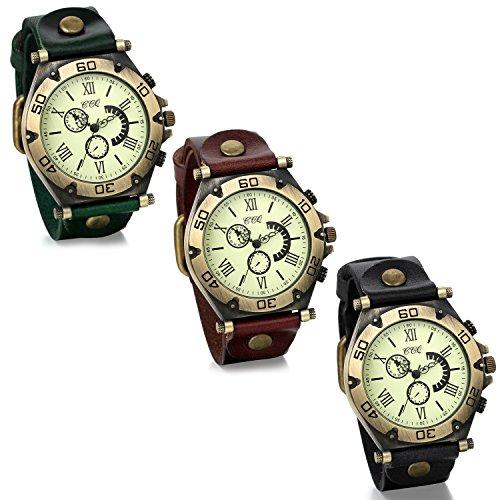 JewelryWe Lot of 3 Wholesale Punk Vintage Wide Leather Bracelet Quartz Wrist Watches for Men Boy -