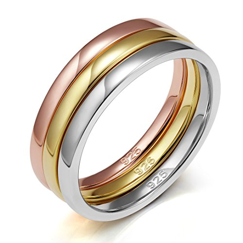 EAMTI 925 Sterling Silver Ring Wedding Bands Engagement Eternity 3pcs Rings Set (5) by EAMTI