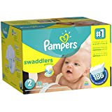 Pampers Swaddlers Diapers Size 2 Economy Pack Plus 186 Count (Packaging May Vary)