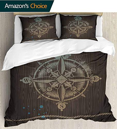 shirlyhome Compass 3 PCS King Size Comforter Set,Boating Windrose with Ship Rope on a Wooden Background Marine Life Inspired Design with 1 Pillowcase for Kids Bedding 80