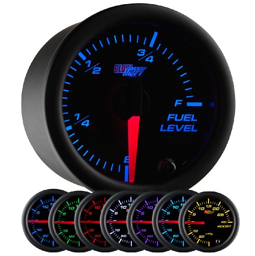 GlowShift Black 7 Color Adjustable Fuel Level Gauge - Black Dial - Clear Lens - For Gas & Diesel Vehicles - 2-1/16