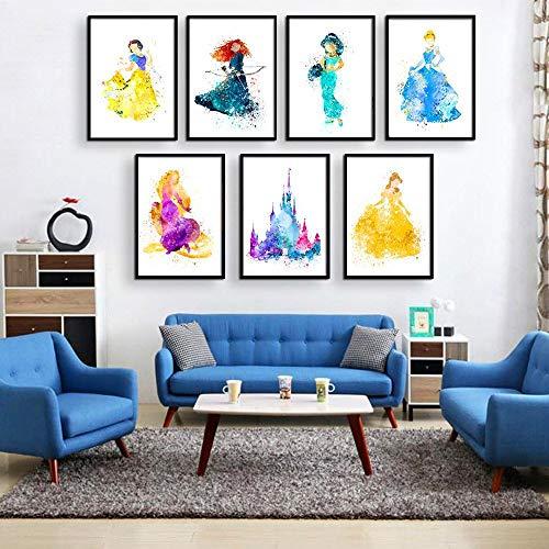 Disney Princess Watercolor Prints - Set of Seven Photos Unframed - Snow White, Merida, Jasmine, Cinderella, Rapunzel, Belle and Disney Castle - Great Gift for Girl