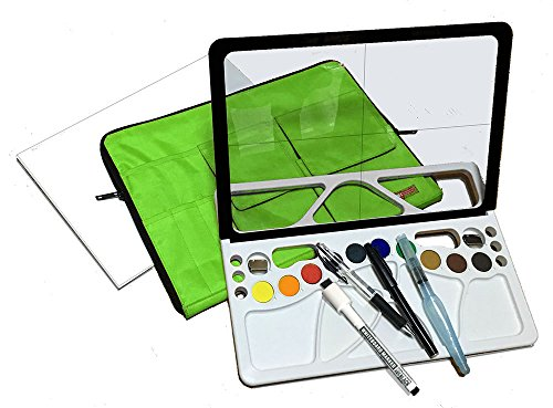 For beginners, new and useful watercolor painting material full set made in Japan. Green bag by w-lette
