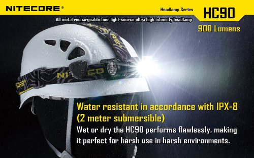 Nitecore HC90 900 Lumen CREE XM-L2 T6 LED USB rechargeable headlamp with Genuine NL189 18650 3400mAh Li-ion rechargeable battery, Two EdisonBright CR123A Lithium Batteries by Nitecore (Image #3)