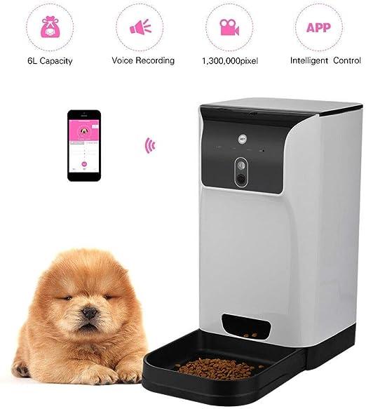 Xiao Tian 6L Gran 960P cámara Gato del Animal doméstico del alimentador homesecurity Perro WiFi a Distancia de visión Nocturna Control de la Moda Inteligente alimentador automático Recargable: Amazon.es: Jardín