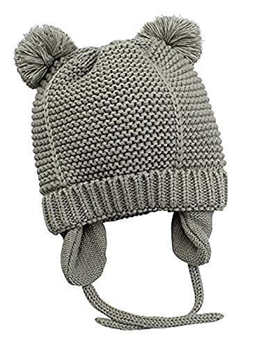 (Century Star Super-Soft Winter fleeced stretch Children Earflap Hairballs Chunky Toddler Unisex baby Hats Grey M(6-12 months))