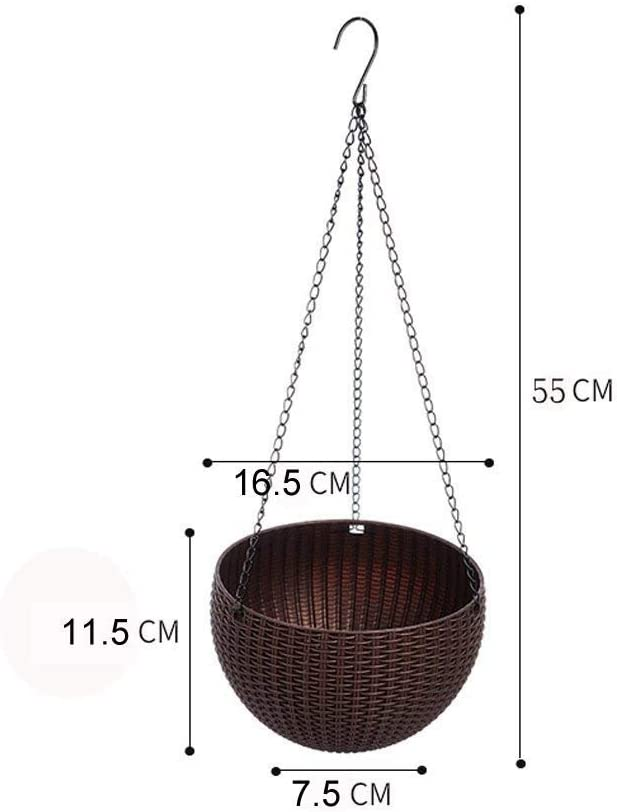 Hanging Basket Rattan Plastic Flower Pot Round Resin Garden Hanging Planter for Indoor Outdoor Plants,2 Pack Grey Small Size 6.5in x 4.5in