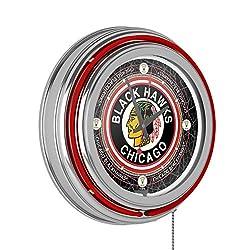 Trademark Gameroom Vintage Chicago Blackhawks174; Neon Clock - 14 inch Diameter