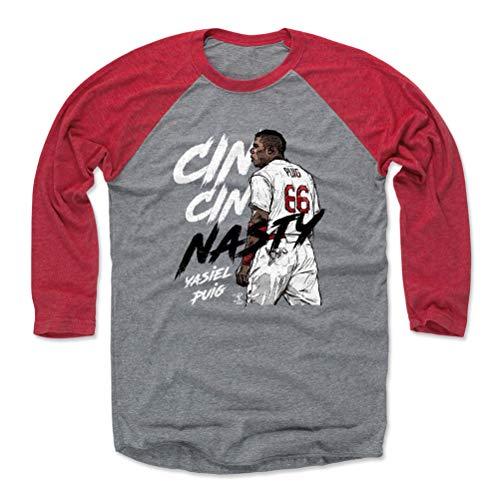 500 LEVEL Yasiel Puig Baseball Tee Shirt (Large, Red/Heather Gray) - Cincinnati Reds Raglan Tee - Yasiel Puig Nasty W WHT