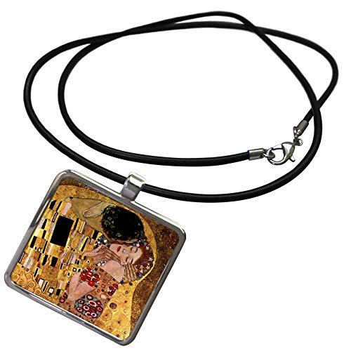 3dRose VintageChest - Masterpieces - Gustav Klimt - The Kiss - Necklace with Rectangle Pendant (Klimt The Kiss Costume)