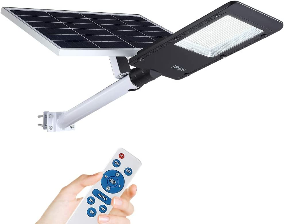 300W Solar Street Lights, LED Solar Flood Lights Outdoor Dusk to Dawn with Remote Control, Waterproof Security Led Pole Light for Yard, Garden, Pathway (Mounting Arm Included)